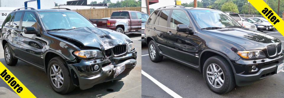 Before and after, body work, repair, sub, BMW, body painting